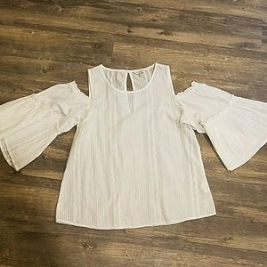 White cold shoulder bell sleeve blouse